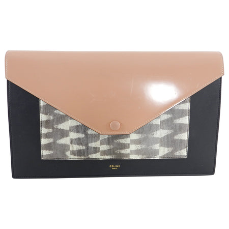 Celine Tricolor Nude and Lizard Pocket Envelope Clutch Bag