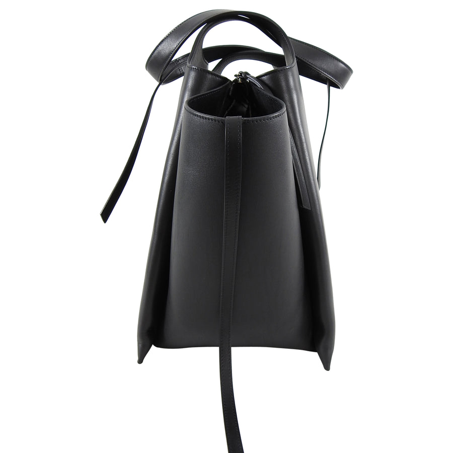 Celine Black Leather Trifold Vertical Large Tote Bag