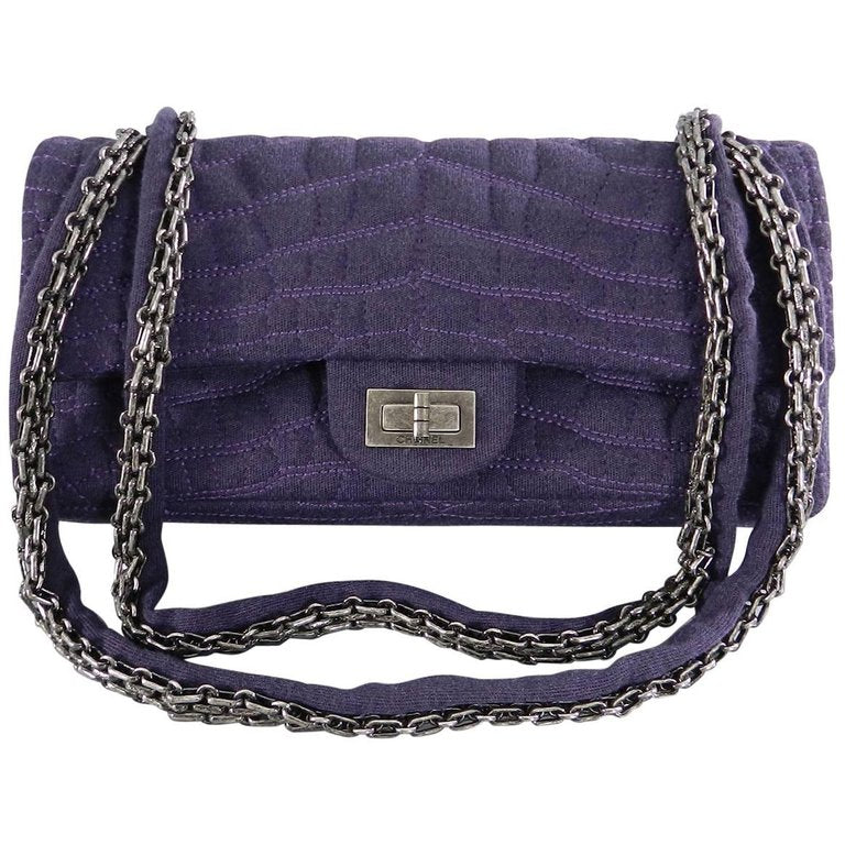 Chanel 07A Purple Knit Fabric Reissue East West Flap Bag