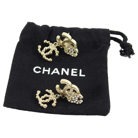 Chanel 10A gold CC Logo Rhinestone Drop Earrings