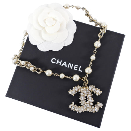 Chanel 11P Pearl and Crystal CC Pendant Necklace