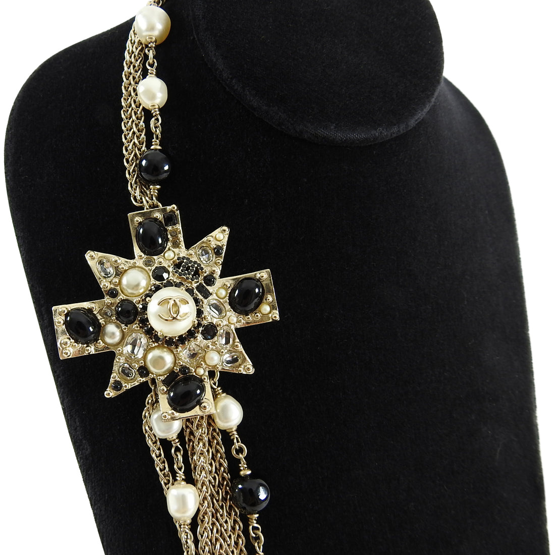 CHANEL 11P gold multi-strand Maltese Cross Necklace with Black and Pearl Beads