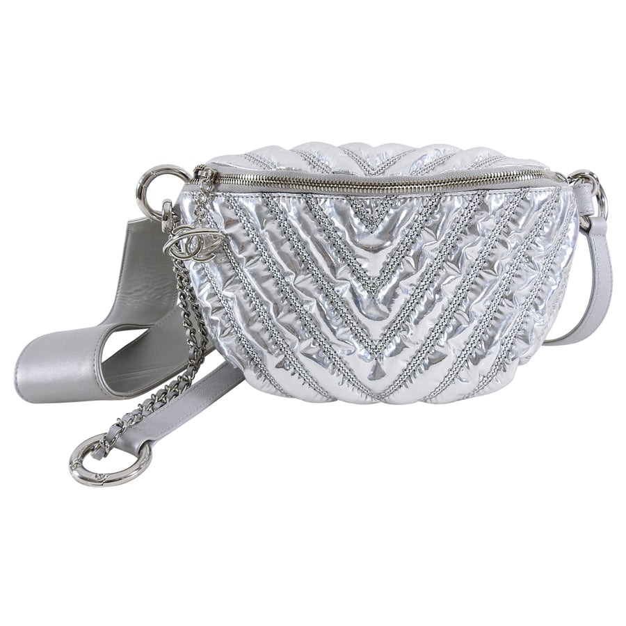 Chanel Fall 2017 Silver Metallic Space Belt Bag Fanny Pack