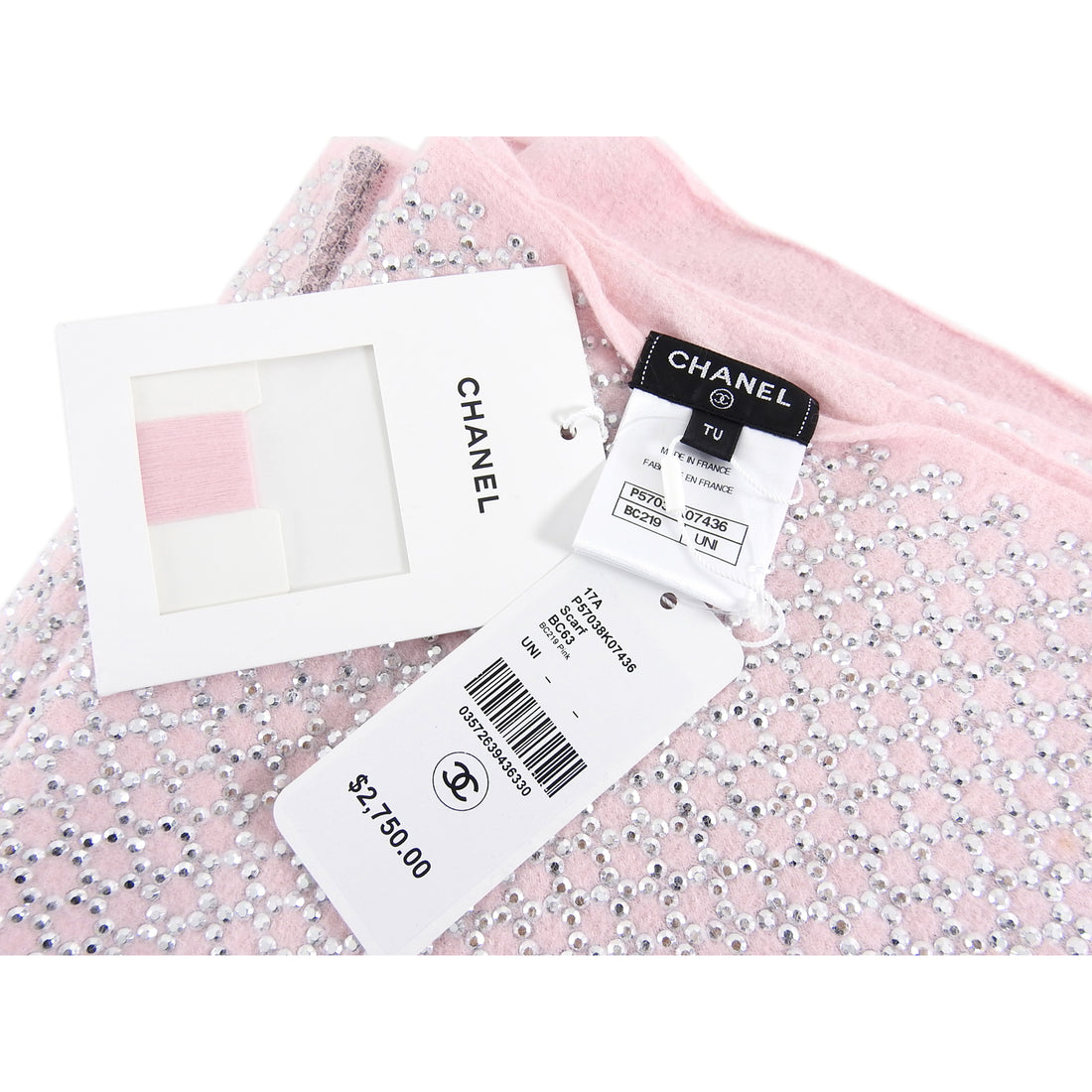 Chanel 17A Pink and Silver Strass Long Angora Scarf