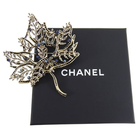Chanel Fall 2018 Runway Gold and Blue Leaf Pin