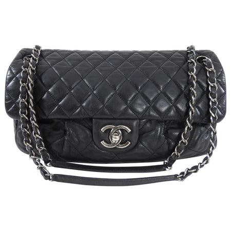 Chanel Black Leather and Ruthenium Soft Flap Bag