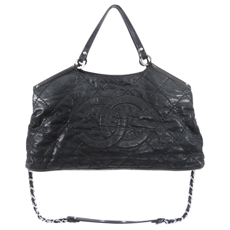 Chanel Black Quilt CC Logo Two-Way Chain Handle Bag