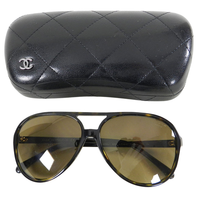 Chanel Brown Tortoise Aviator Sunglasses 5206
