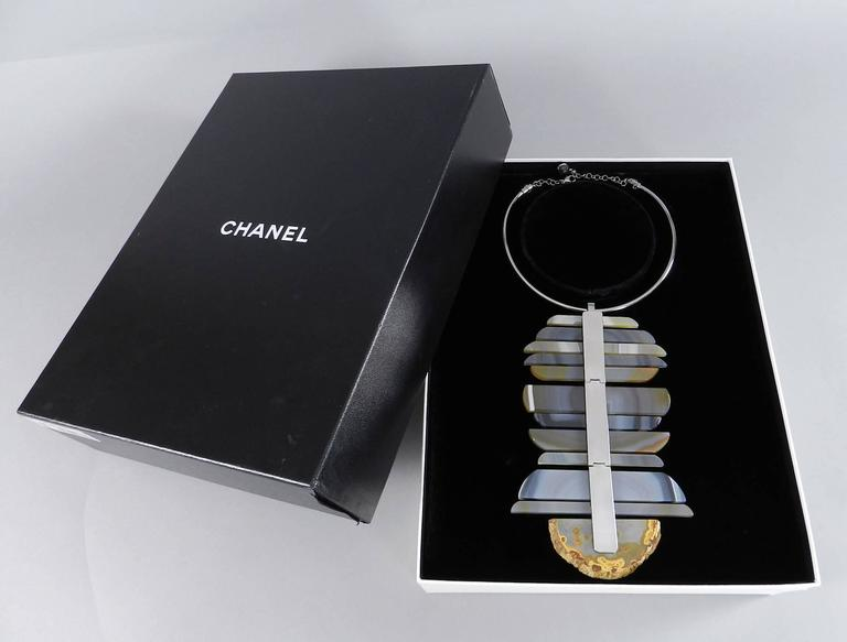 Chanel 09P Runway Large Modernist Agate Statement Necklace