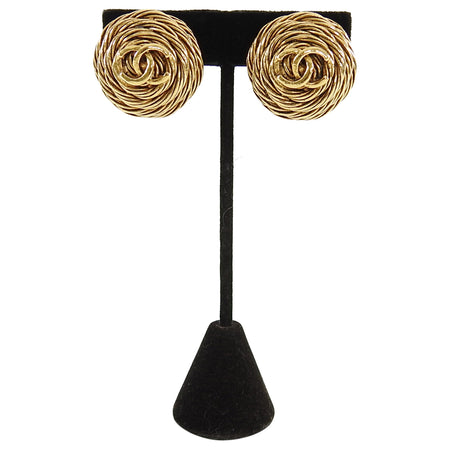 12104a56c1c Chanel Vintage 1994 Gold CC Round Clip Earrings