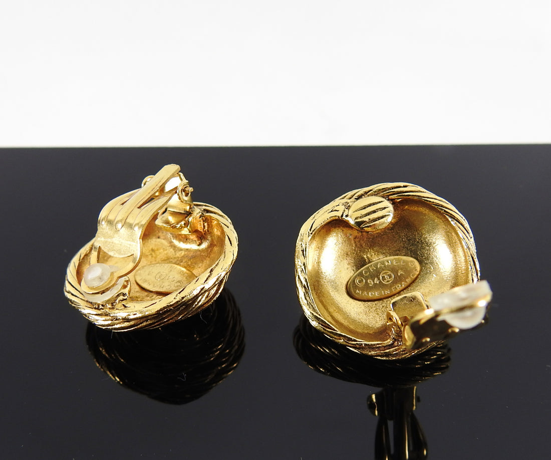 Chanel Vintage 1994 Gold CC Round Clip Earrings