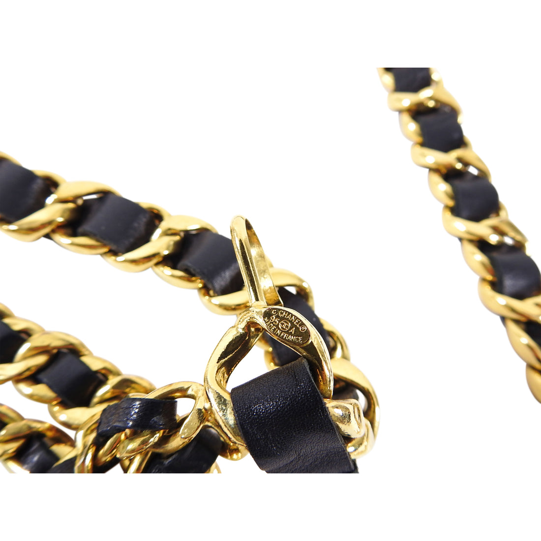 Chanel 95A Vintage Gold and Black Leather Chain Coin Belt