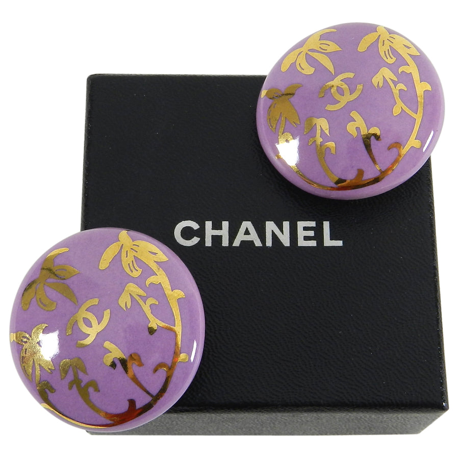 Chanel Vintage 1997 Purple Ceramic Palm Tree Button Earrings