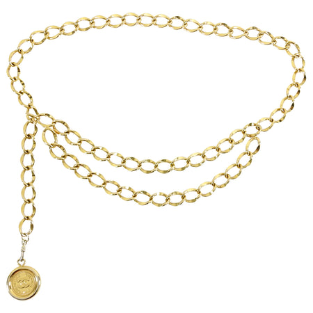 Chanel Vintage 1995 P Gold Chain Belt with Coin Drop