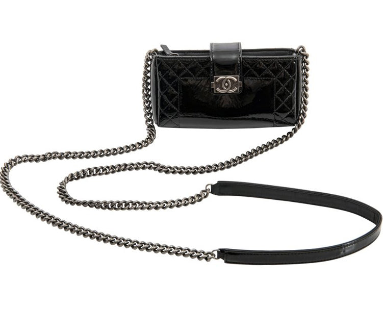 Chanel Black Patent Boy Reverso Mini Pochette Crossbody Bag