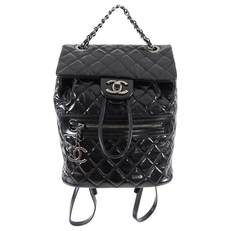 Chanel Black Glazed Calfskin Mountain Quilt Small Backpack Bag