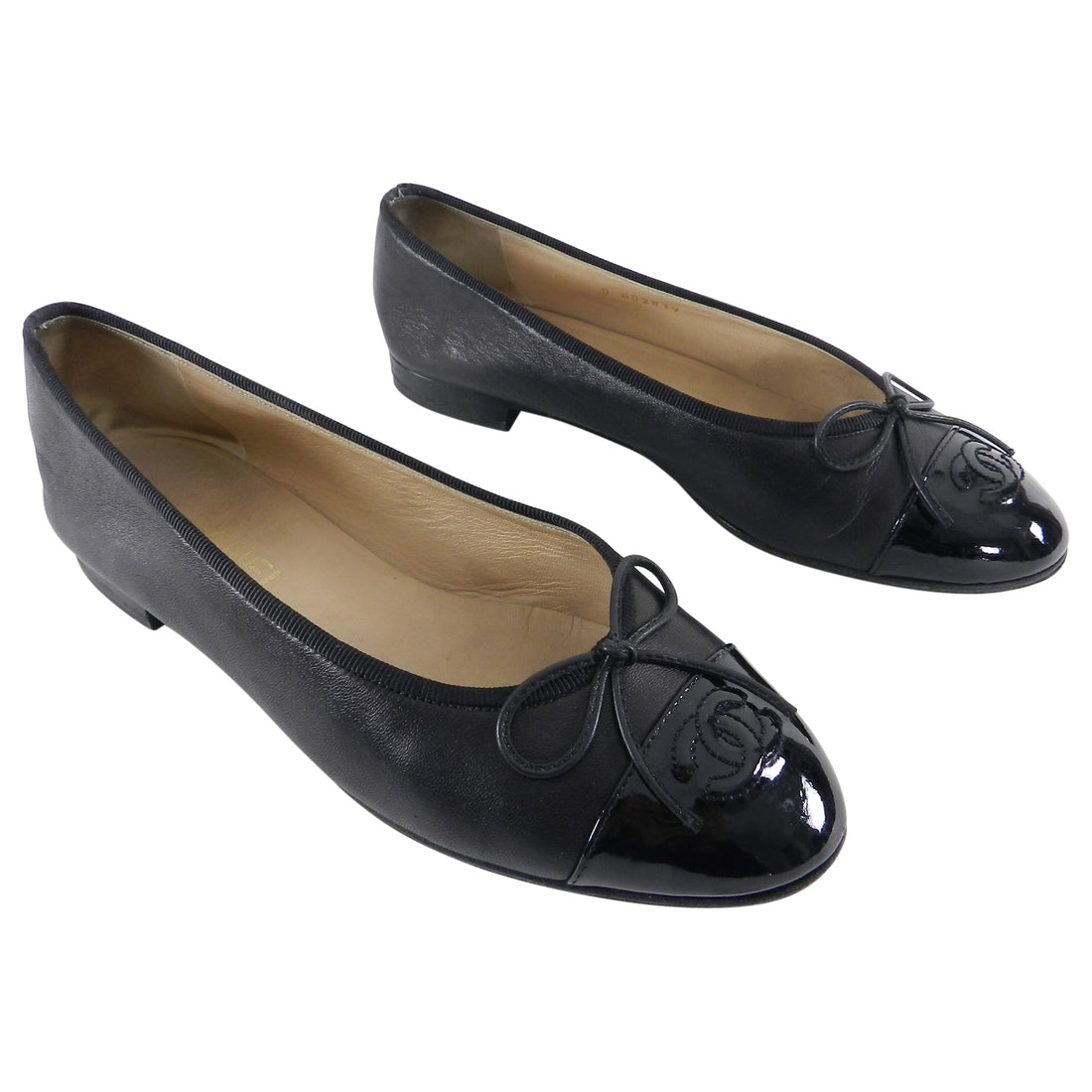 Chanel Black Ballet Flats with Patent Cap Toe - 39.5