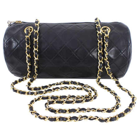 Chanel Vintage 1989 Lambskin Quilted Roll Chain Strap Bag