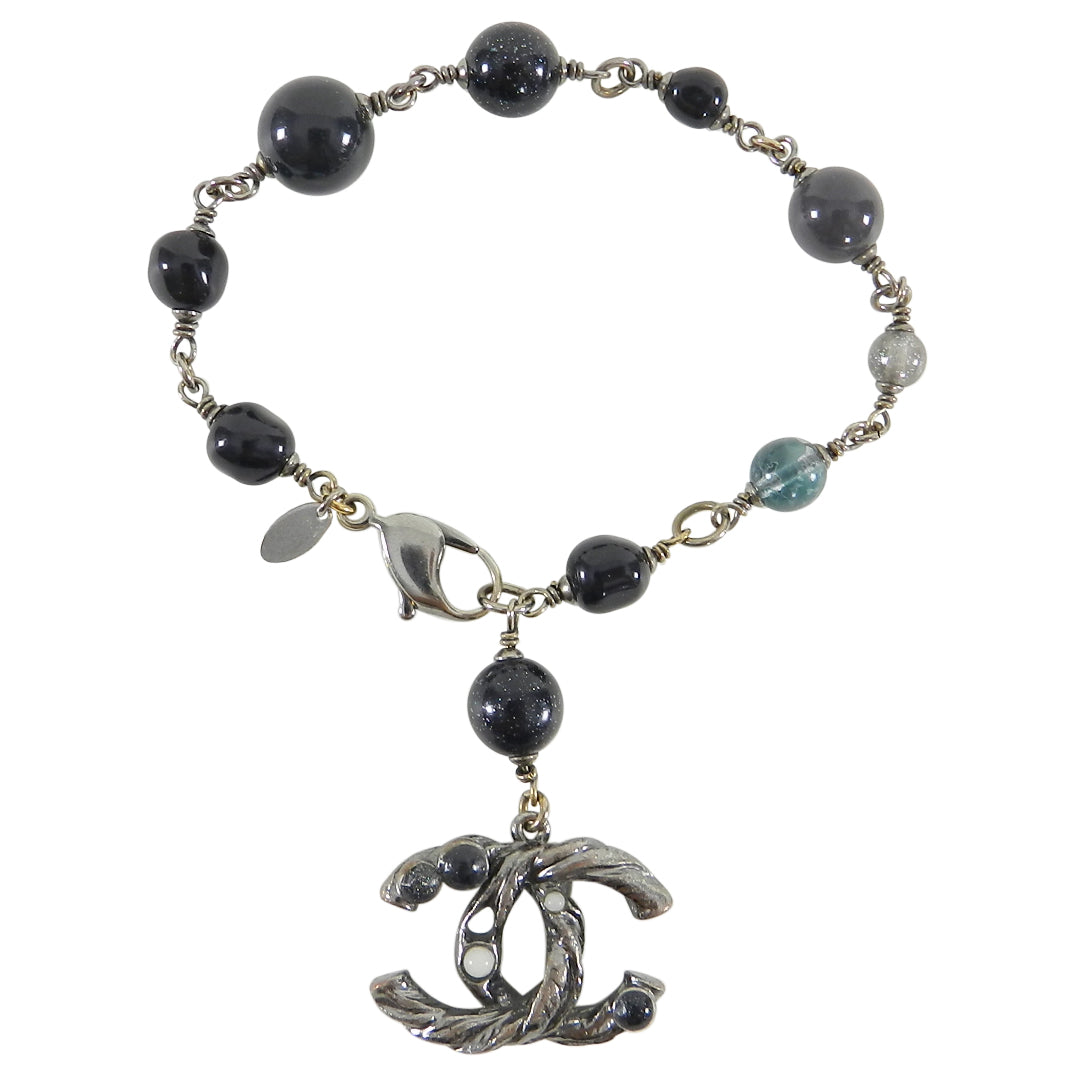 Chanel 11A Black and Grey Beaded CC Charm Bracelet