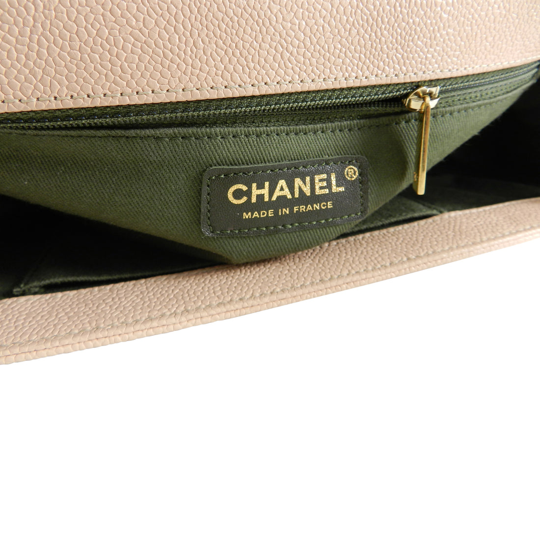 Chanel 17C Light Beige New Medium Quilted Caviar Boy Bag