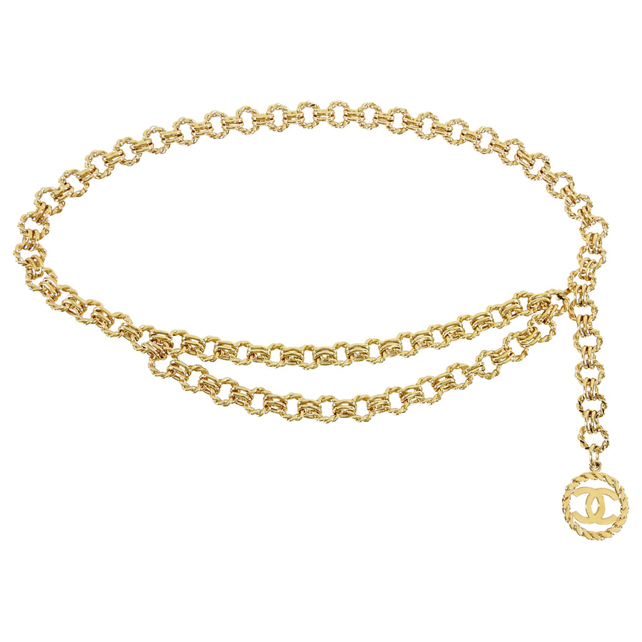Chanel Vintage 1989 Gold Chain CC Drop Belt