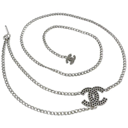 Chanel Silver Perforated CC Chain Belt