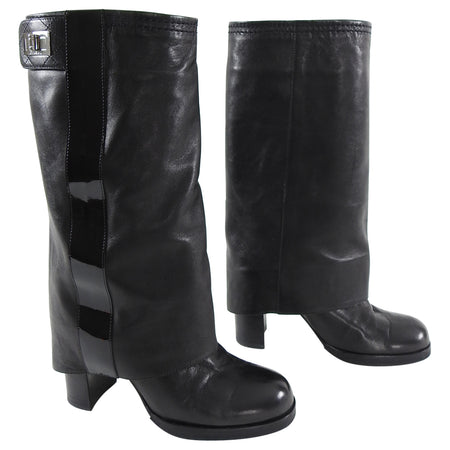Chanel Black Leather and Patent Reissue Mid Calf Boots - 6