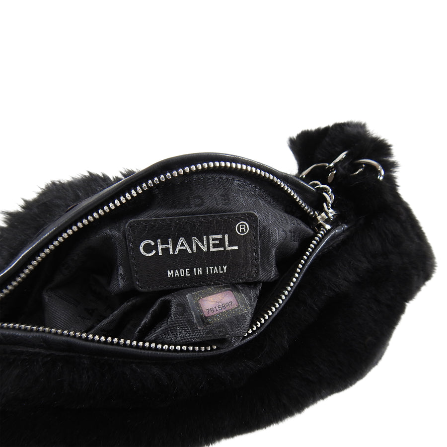 Chanel Black Fur Small Pochette Bag with CC Charm