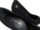 Chanel Black Suede Pumps with Patent Cap Toe - 38