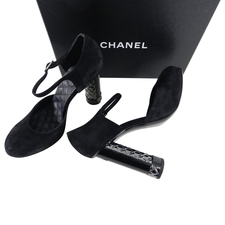Chanel Black Suede Platform with Sculpted Quilt CC Heel - 41.5