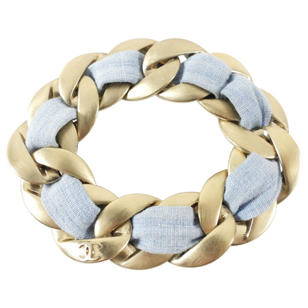Chanel 09C Blue and Gold Chain Bracelet