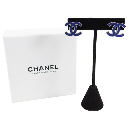 Chanel 13P Blue Enamel CC Logo Silvertone Earrings