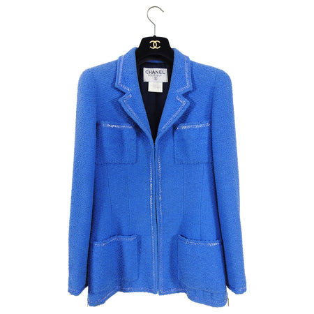 Chanel Vintage 1995 Spring Blue CC Buttons Jacket - 38 / 6