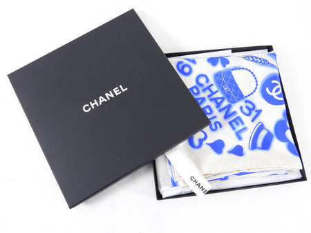 Chanel Blue and White CC Logo Silk 90cm Scarf