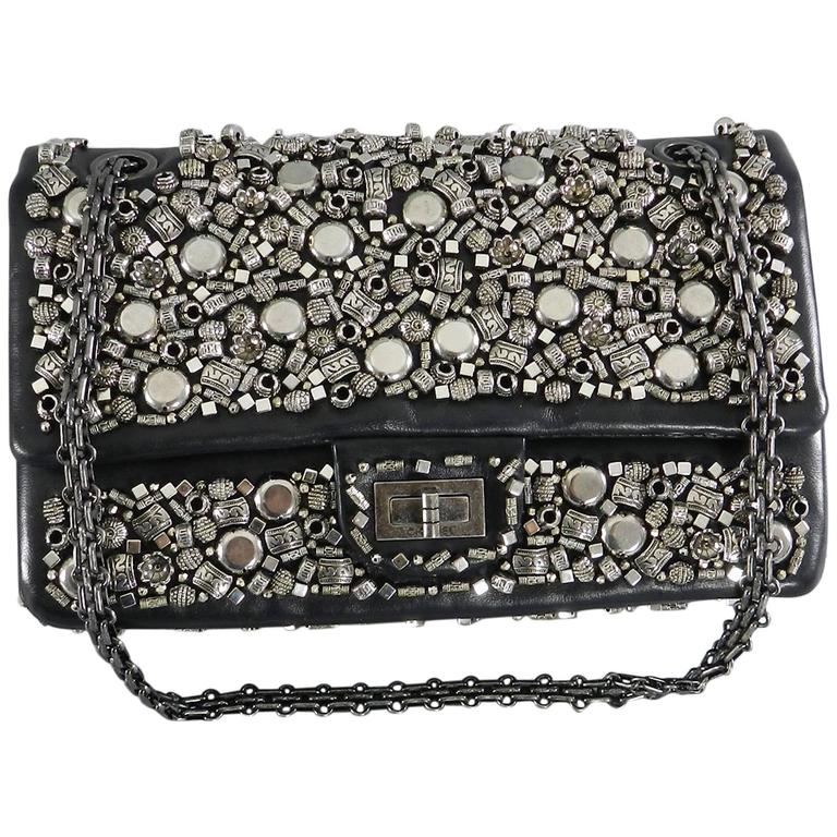 Chanel pre-fall Bombay 2012 Runway Silver Beaded bag 2.55 medium reissue