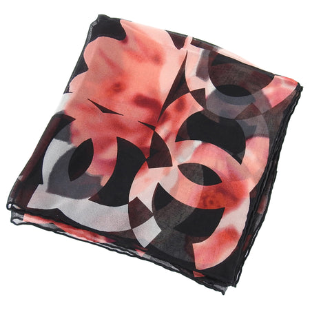 Chanel Red and Black Floral Logo Border Silk Chiffon Scarf