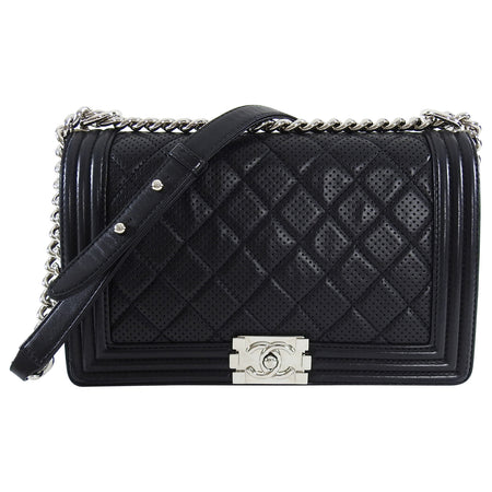 Chanel Black Le Boy Perforated Leather New Medium Bag