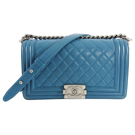 Chanel Turquoise Blue Boy Bag Old Medium Silver Hardware