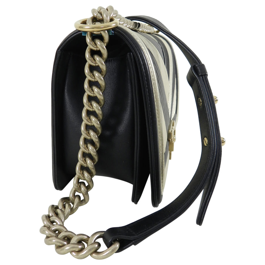 Chanel 16A Le Boy in Rome Medium Black and Gold Chevron Bag