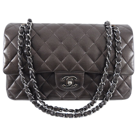 Chanel Dark Taupe Medium Lambskin Classic Double Flap Bag