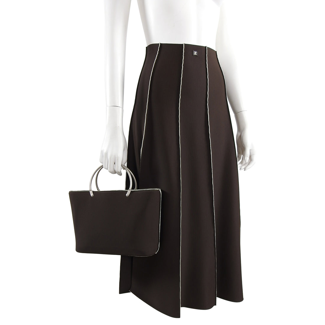 Chanel Vintage 1997 Brown Neoprene Skirt and Bag Set