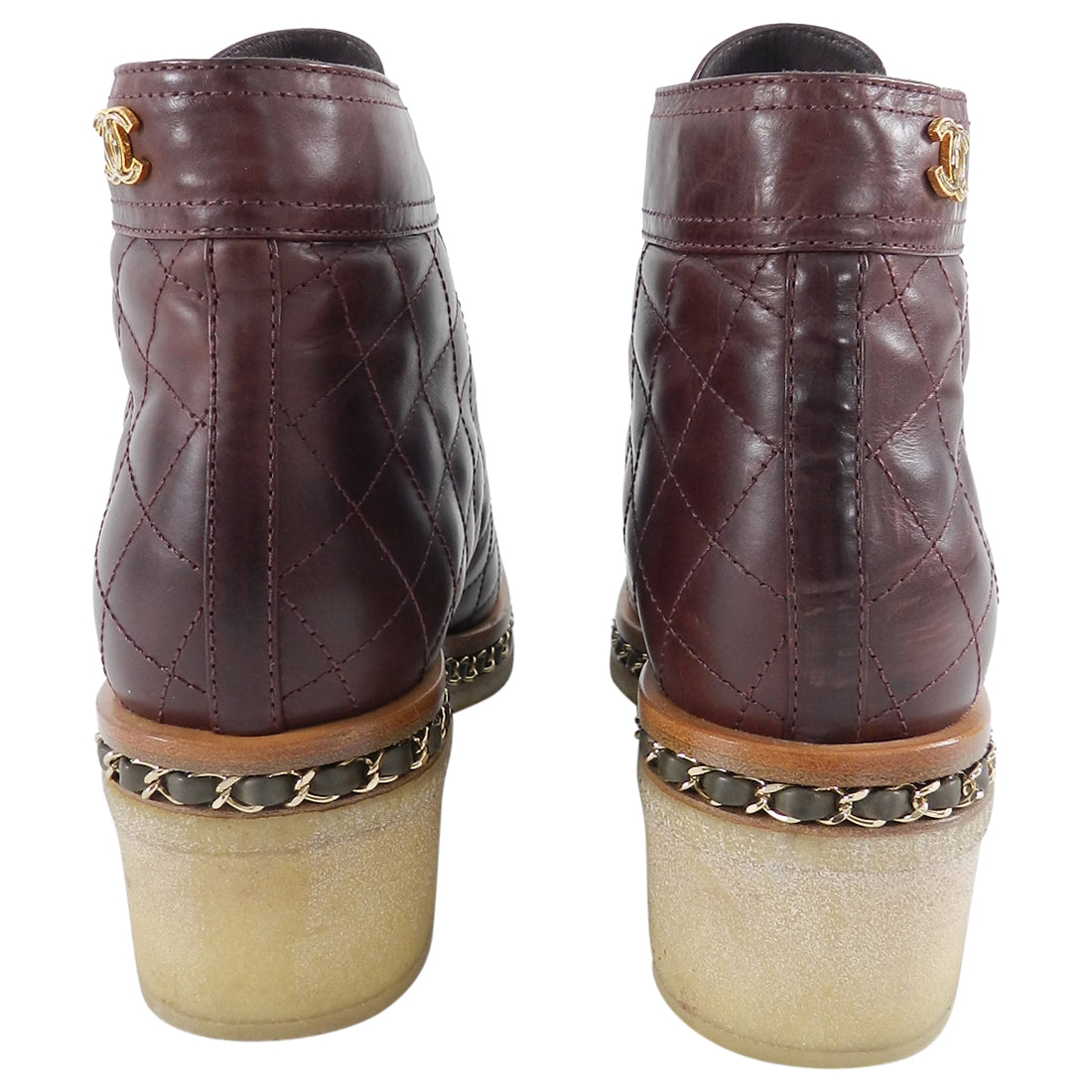 Chanel Burgundy and Olive Quilt Ankle Boots with Gold Chain - 41