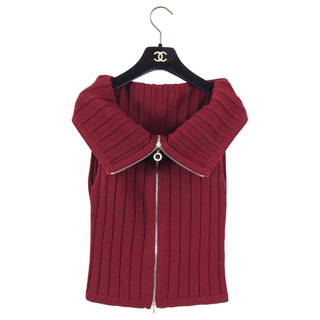 Chanel Identification Vintage 2000 Fall Burgundy Knit Top - 38 / 6