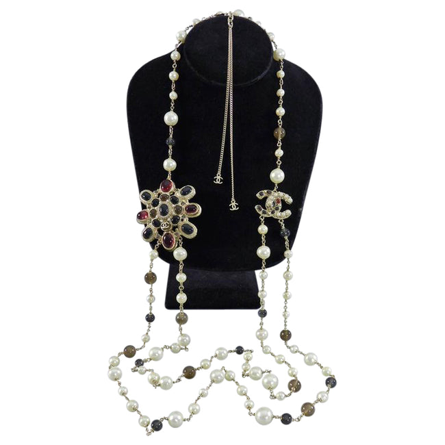 Chanel 11A Byzantine Collection Red Gripoix Glass and Pearl Double Necklace