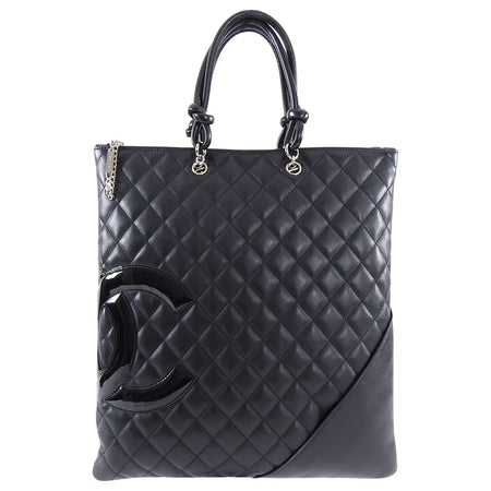 Chanel 2005 Black Quilted Ligne Cambon CC Small Tote Bag