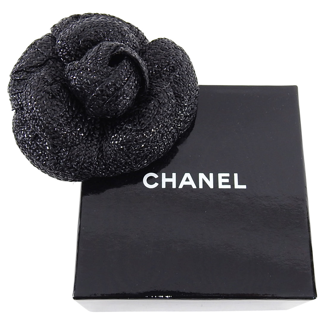 Chanel Vintage 1980's Camelia Flower Brooch Pin Black Straw