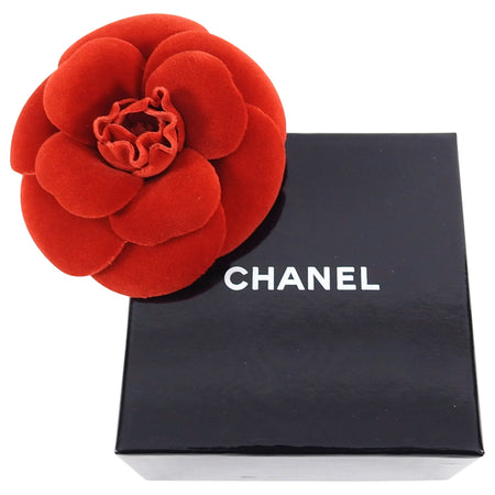 Chanel Vintage 1980's Camelia Flower Brooch Pin Red Velvet