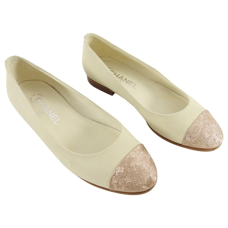 Chanel Beige Ballet Flats with Rose Gold Cap Toe - 6