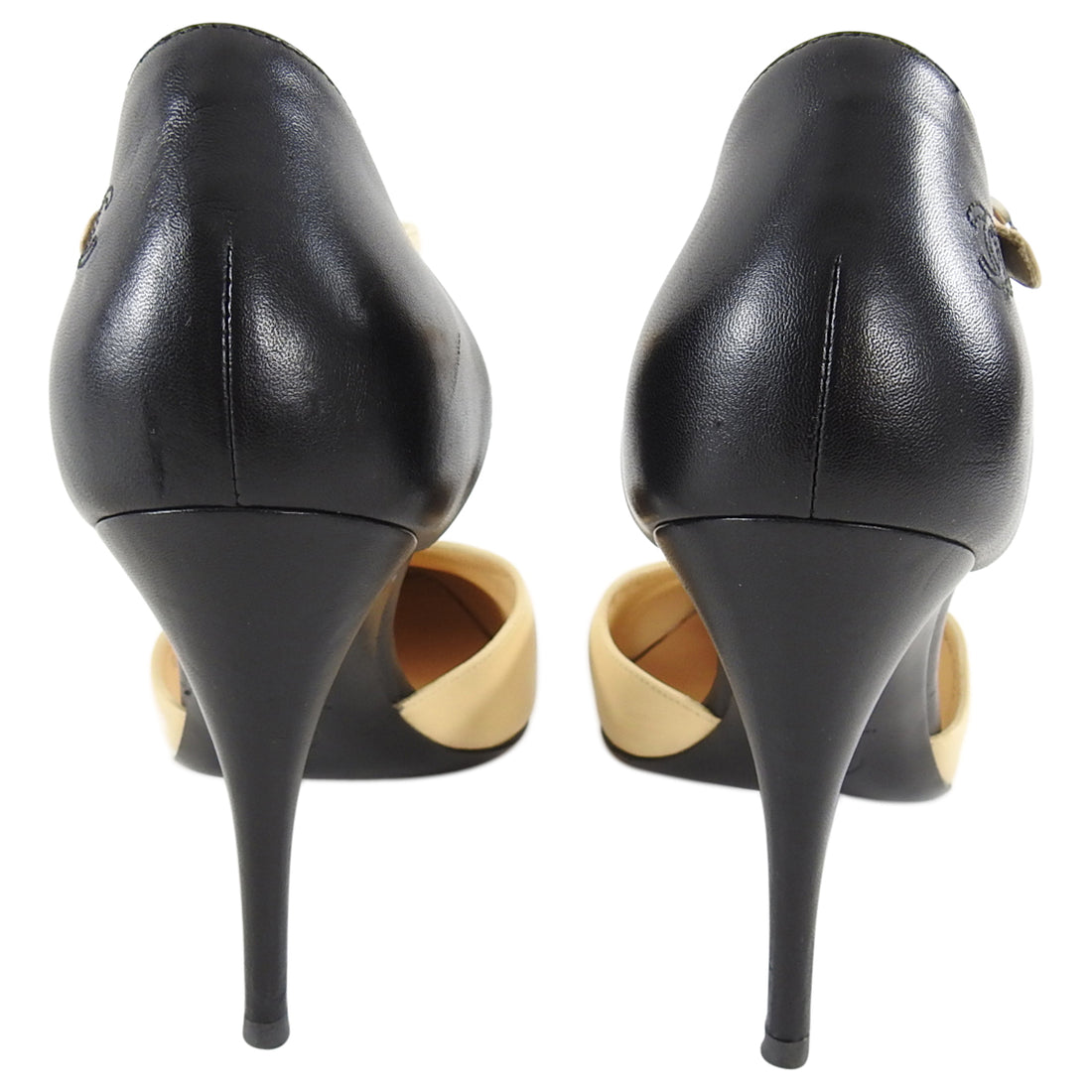 Chanel Beige and Black Cap Toe D'Orsay Heels - 41