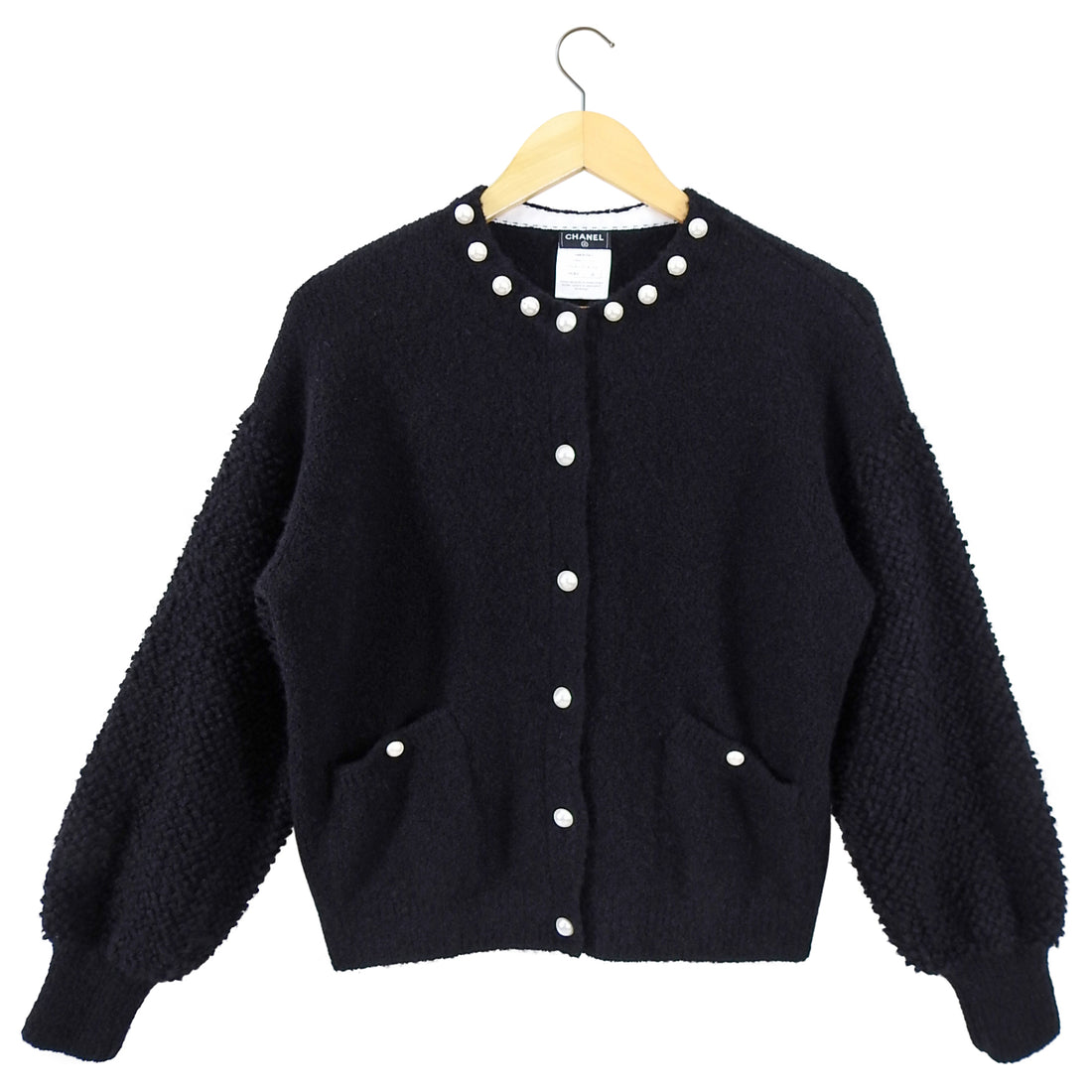 Chanel Black Cashmere Cardigan Sweater with Pearl Buttons - FR38 / USA 6